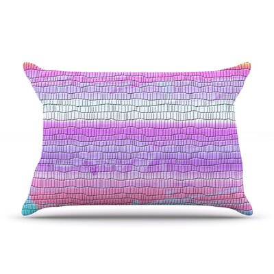 Nina May Drip Dye Cool Strid Pastel Geometry Pillow Case Color: Pink