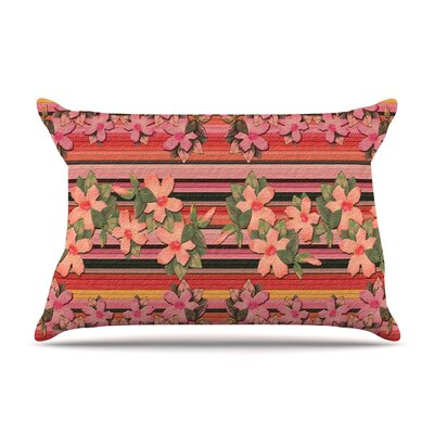 Nina May Peach Hibiscus Stripe Pillow Case
