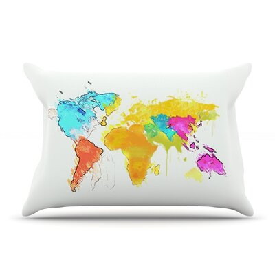 Oriana Cordero World Map Rainbow Pillow Case