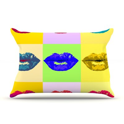 Oriana Cordero Pop Kiss Rainbow Lips Pillow Case