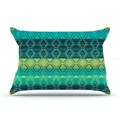 Nina May Denin Diamond Pillow Case Color: Gradient Green