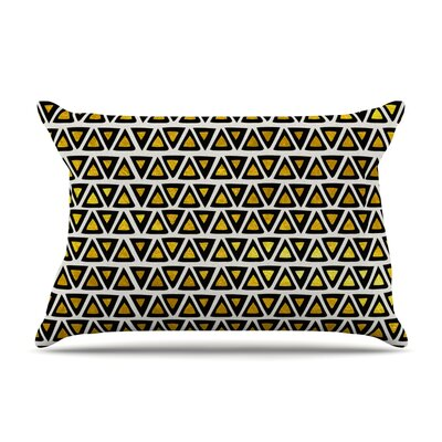 Pom Graphic Design Aztec Triangles Gold Pillow Case