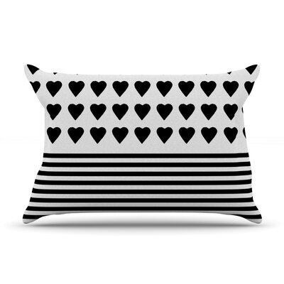 Project M Heart Stripes Rainbow Shapes Pillow Case Color: Black/White