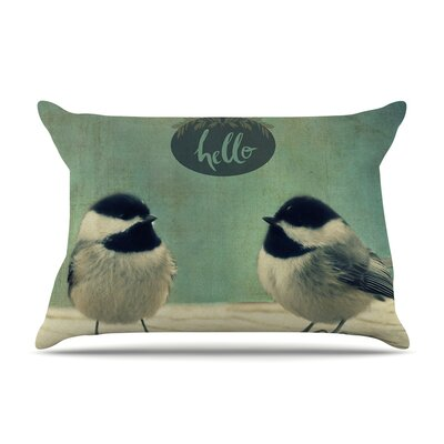 Robin Dickinson Hello Birds Typography Pillow Case