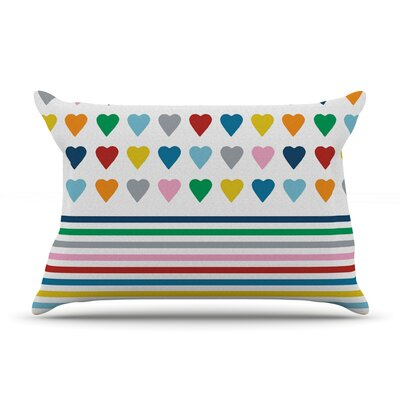 Project M Heart Stripes Rainbow Shapes Pillow Case Color: Rainbow
