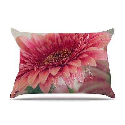 Robin Dickinson Be Happy Floral Pillow Case