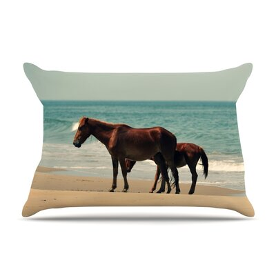 Robin Dickinson Sandy Toes Beach Horses Pillow Case