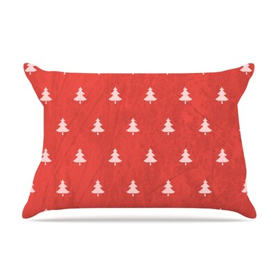 Snap Studio Pine Pillow Case Color: Red/Maroon
