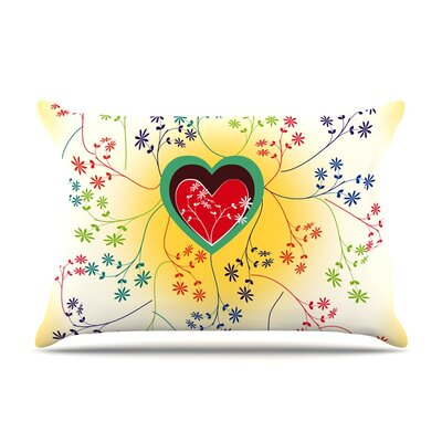 Famenxt Romantic Heart Pillow Case Color: Yellow