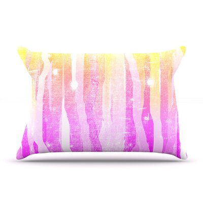 Frederic Levy-Hadida Jungle Stripes Painting Pillow Case Color: Pink/Yellow