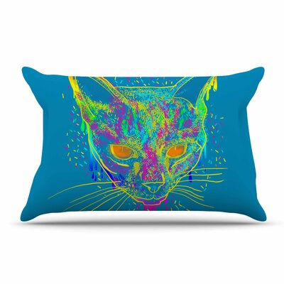 Frederic Levy-Hadida Candy Cat Rainbow Pillow Case Color: Blue