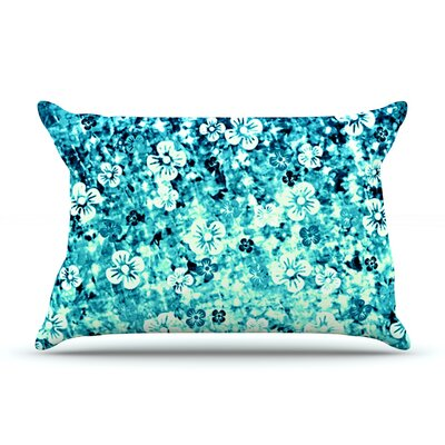 Ebi Emporium Flower Power Pillow Case Color: Blue/Teal