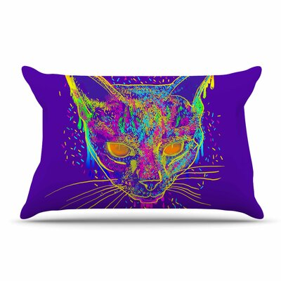 Frederic Levy-Hadida Candy Cat Rainbow Pillow Case Color: Purple