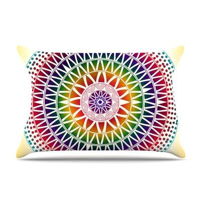 Famenxt Colorful Vibrant Mandala Rainbow Geometric Pillow Case