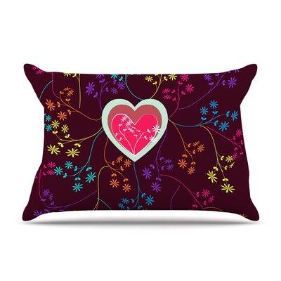 Famenxt Romantic Heart Pillow Case Color: Maroon