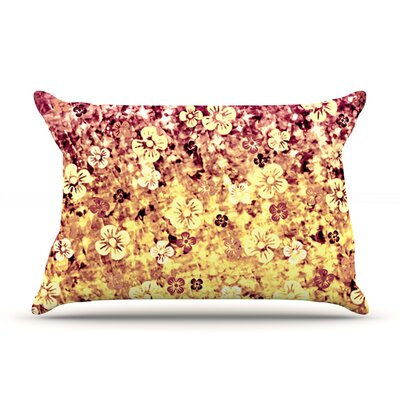 Ebi Emporium Flower Power Pillow Case Color: Yellow/Orange