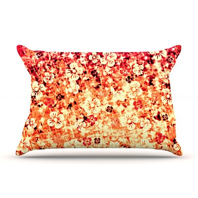 Ebi Emporium Flower Power Pillow Case Color: Orange/Red