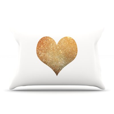 Suzanne Carter Gold Heart Glam Pillow Case