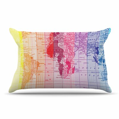 Catherine Holcombe Rainbow World Map Travel Pillow Case