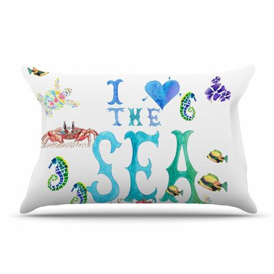 Catherine Holcombe I Love The Sea Ocean Typography Pillow Case
