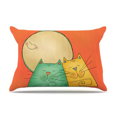 Carina Povarchik 2 Gatos Romance Love Cats Pillow Case