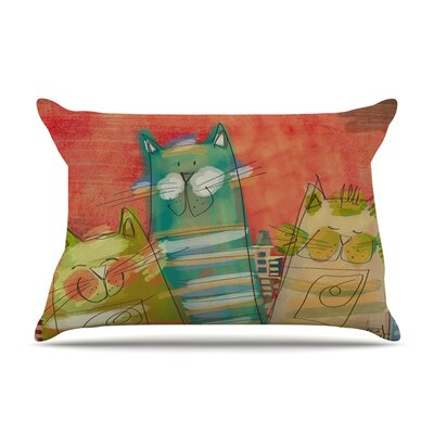 Carina Povarchik 'Gatos' Cat Pillow Case