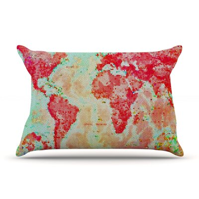 Alison Coxon Oh The Places WeLl Go World Map Pillow Case