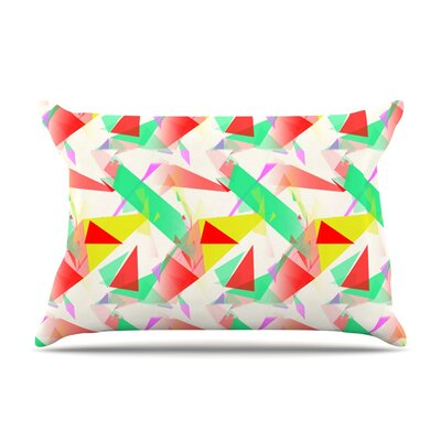 Alison Coxon Confetti Triangles Pillow Case Color: Green/Red