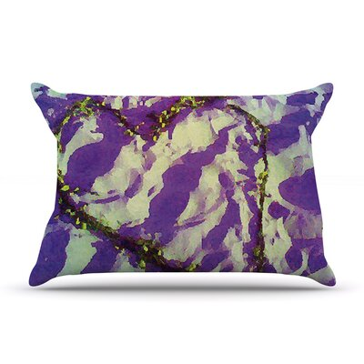 Anne LaBrie Pink Tiger Love Pillow Case Color: Purple/Yellow