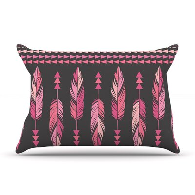 Amanda Lane Painted Feathers Tribal Pillow Case Color: Pink/Charcoal