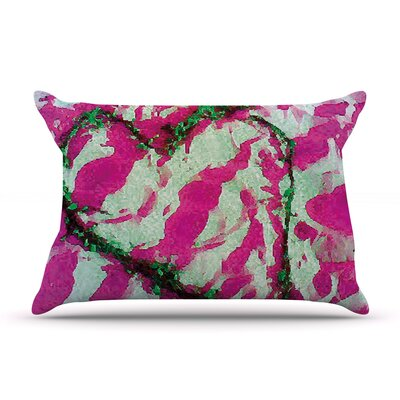 Anne LaBrie Pink Tiger Love Pillow Case Color: Pink/Green