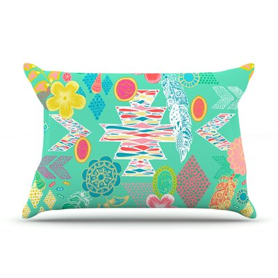 Anneline Sophia Aztec Boho Emerald Rainbow Pillow Case Color: Teal