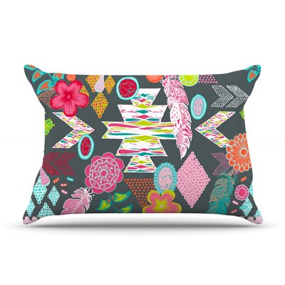 Anneline Sophia Aztec Boho Emerald Rainbow Pillow Case Color: Gray