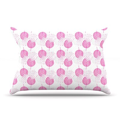 Apple Kaur Designs Wild Summer Dandelions Circles Pillow Case Color: Pink/Gray