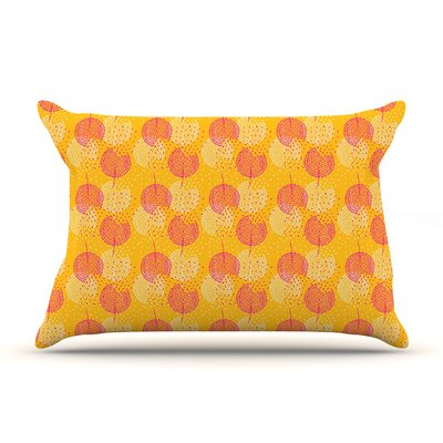 Apple Kaur Designs Wild Summer Dandelions Circles Pillow Case Color: Gold/Red