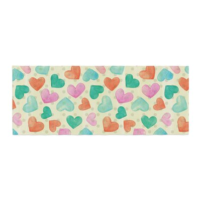 Louise Machado Watercolor Hearts Bed Runner
