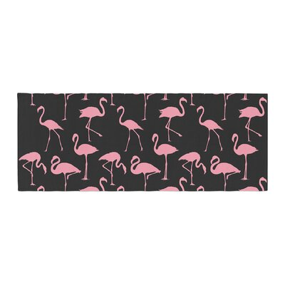 Pink On Illustration Animals Abstract Bed Runner Color: Black