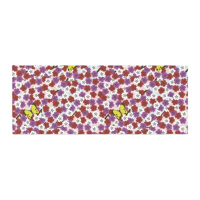 Setsu Egawa Cherry Blossom and Butterfly Bed Runner