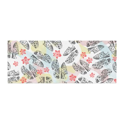 Mmartabc Sports Shoes Floral Illustration Bed Runner