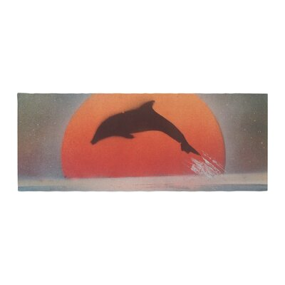 Infinite Spray Art Dolphin Sunset Bed Runner