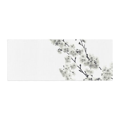 Monika Strigel Cherry Sakura Floral Bed Runner Color: White