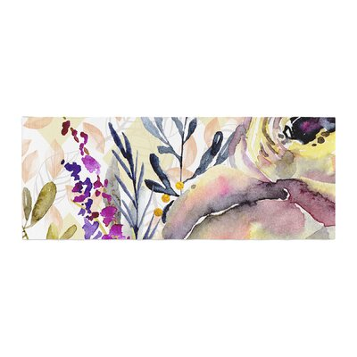 Mmartabc Watercolor Flowers and Leaves Illustration Bed Runner