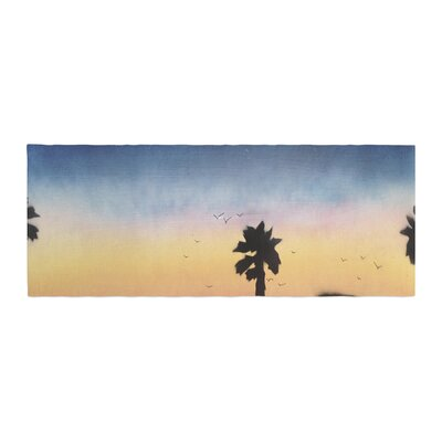 Infinite Spray Art Carlsbad Sunset Coastal Painting Bed Runner