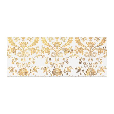 Baroque Abstract Floral Bed Runner Color: Gold