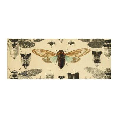 Suzanne Carter Vintage Cicada Bugs Pattern Bed Runner
