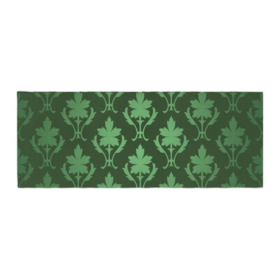 Emerald Damask Pattern Bed Runner
