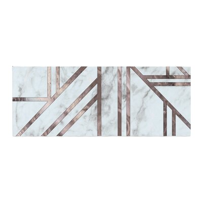Dark Marble Mosaic Digital Geometric Bed Runner
