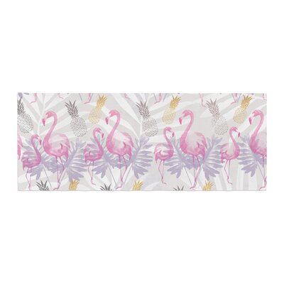 Mmartabc Flamingos and Pineapples Watercolor Bed Runner