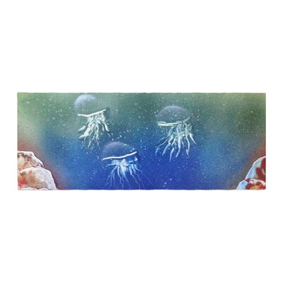 Infinite Spray Art Underwater Aliens Jellyfish Bed Runner