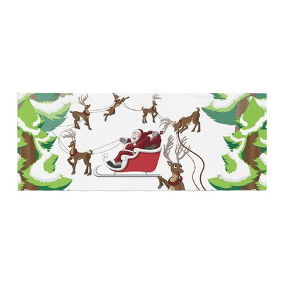 Forest Sleigh Scene Holiday Illustration Bed Runner